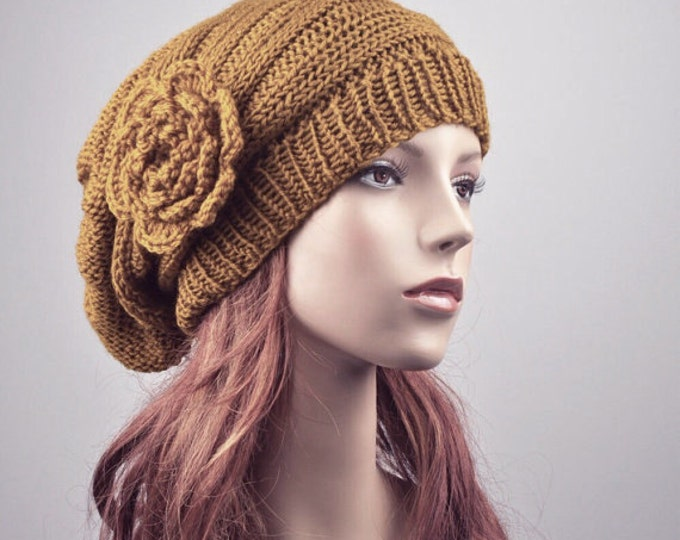 hand knit Oversized  Beret Hat with crochet flower Mustard-ready to ship