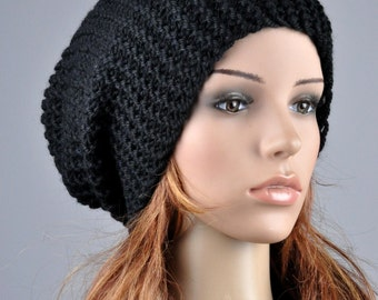 Hand Knit Hat woman man unisex hat chunky hat wool Black Slouchy Hat