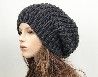Hand knit woman hat - Oversized Chunky Wool Hat, slouchy hat, charcoal, winter hat