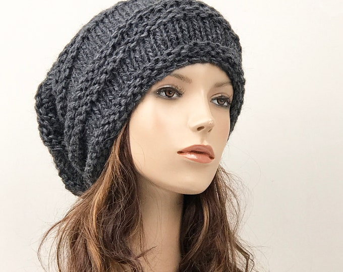 Hand knit hat woman unisex wool hat Oversized charcoal Chunky Slouchy hat -  ready to ship eaaf9bf8f90c