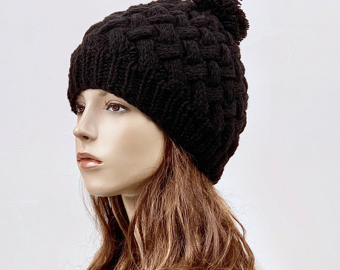 Hand Knit Hat  woman hat winter hat wool Beanie Hat Pom pom hat Black hat