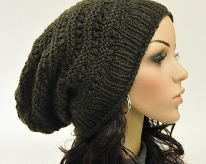 Hand knit hat Olive Green Chunky Hat unisex slouchy hat