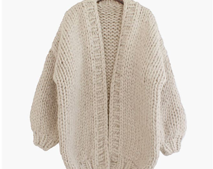 Hand knit oversize woman sweater chunky slouchy cream wool cardigan