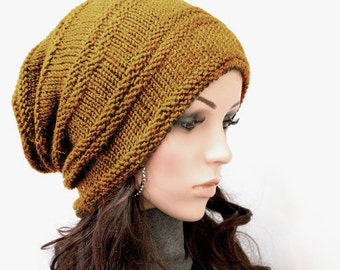 Hand knit hat hat woman hat Mustard yellow Chunky Wool Hat Slouchy hat