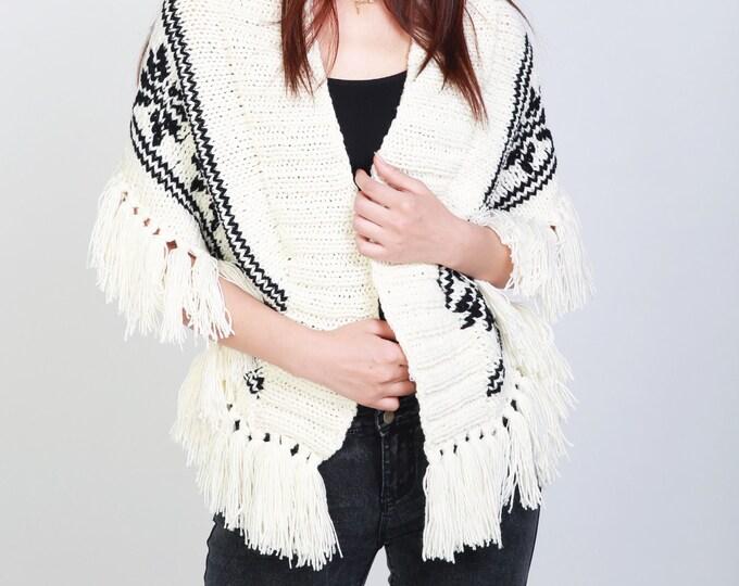 Hand Knit wool poncho white shrug black white fringe capelet little cardigan