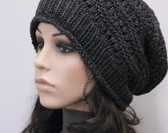 Hand Knit hat unisex hat winter hat black hat Wool Hat, slouchy hat-ready to ship