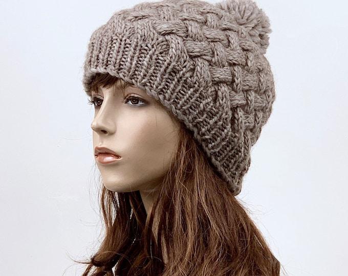 Hand Knit woman hat winter hat wool Beanie Hat Pom pom hat Almond