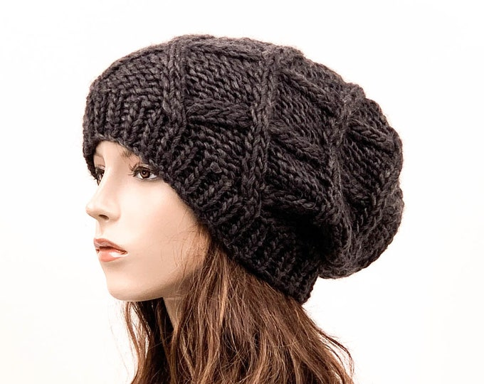 Hand Knit Hat woman oversize chunky slouchy hat winter hat wool Beret Hat Charcoal Beanie hat