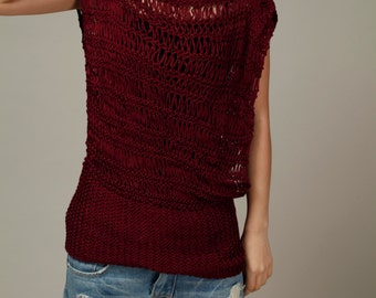 Hand knit woman sweater Silky cotton Tunic in Wine Burgundy