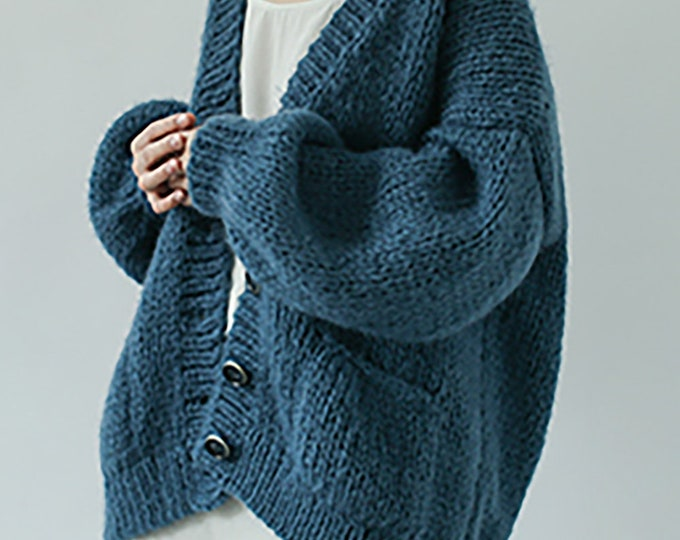 Hand knit oversize woman sweater Mohair sweater button front cardigan pocket foggy blue