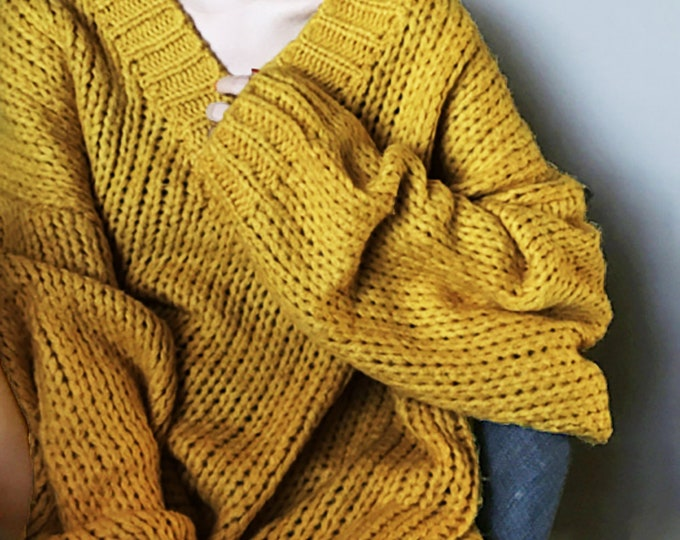 Hand knit oversize woman pullover sweater V-neck slouchy cotton mustard sweater