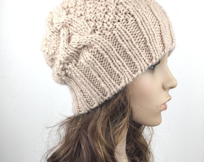 Hand knit hat Wool hat woman Hat slouchy hat Wheat hat