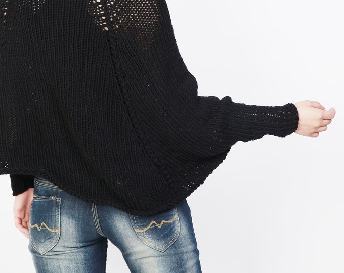 Handknit cotton poncho knit sweater woman Top knit shrug in Black