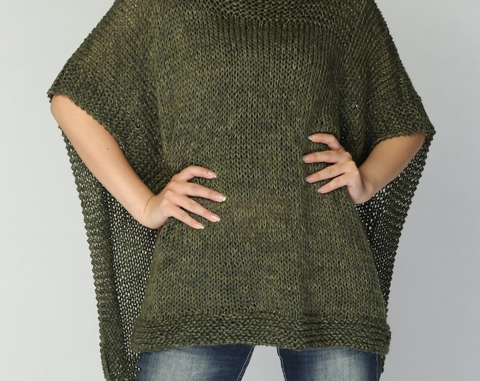 Hand knitted Poncho/ capelet eco cotton poncho in Fall green -ready to ship