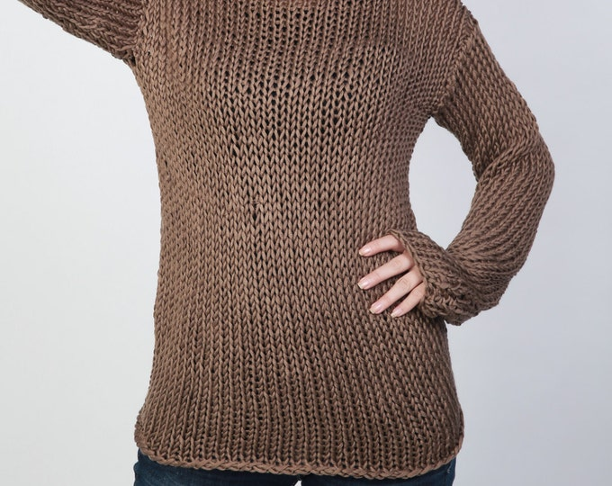 Hand knit woman sweater - Eco cotton long sweater Mocha