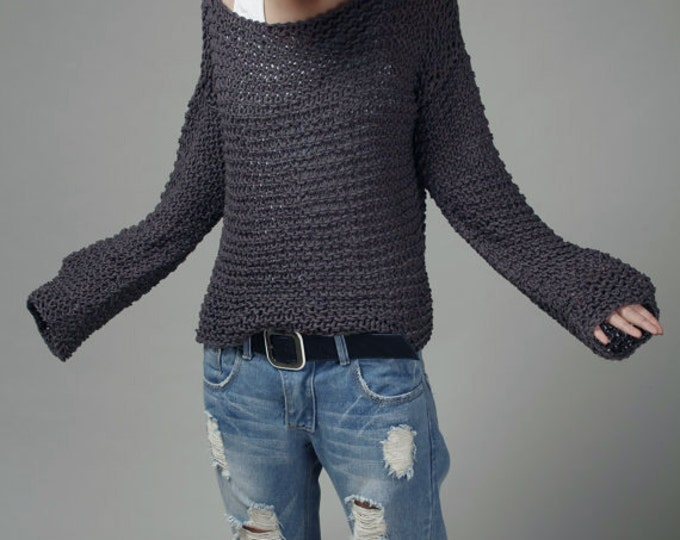 Simple is the best - Hand knit sweater Eco cotton oversized in Charcoal - ready to ship