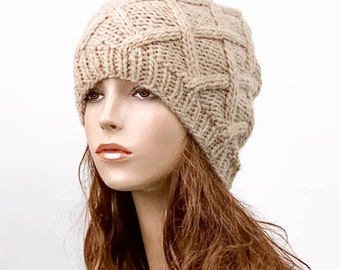 READY TO SHIP Tsunami Beanie Wheat Beanie Chunky Knit Hat Womens Hat Wheat Mens Hat Wheat Spiral Texture Beanie Wheat Hat Wheat Beanie