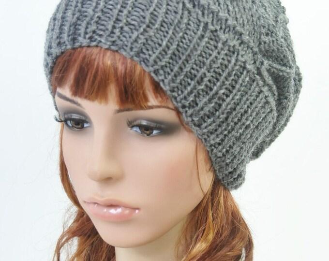 Hand knit wool Hat Woman winter beret Charcoal