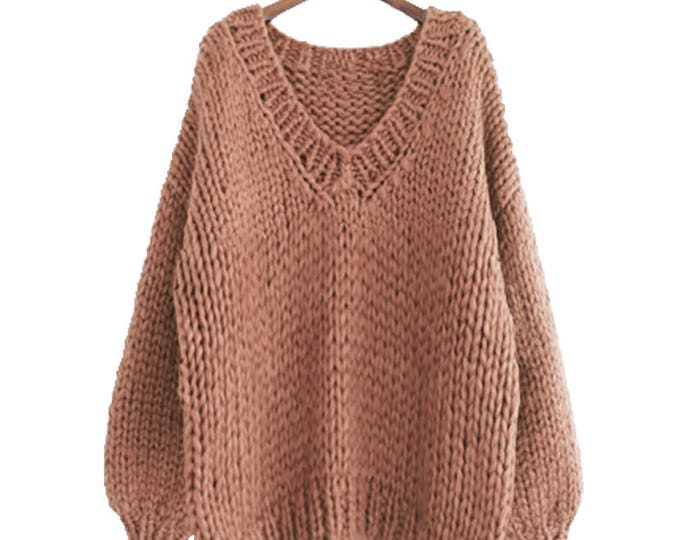 Hand knit oversize woman sweater V-neck slouchy wool camel sweater