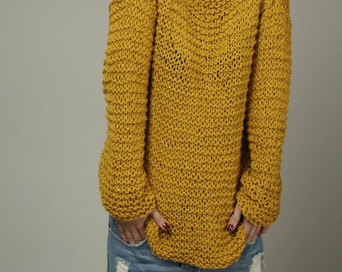 Simple is the best - Hand knit Woman Sweater Eco Cotton Oversized Mustard Yellow-ready to ship