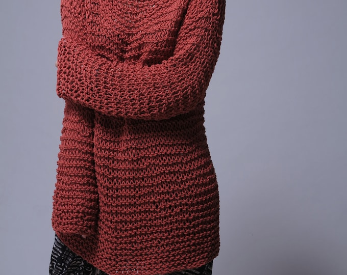 Hand knit woman sweater - Eco cotton oversized sweater in Brick Red - ready to ship