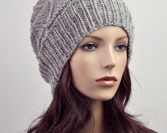 Hand knit wool Hat grey woman beret