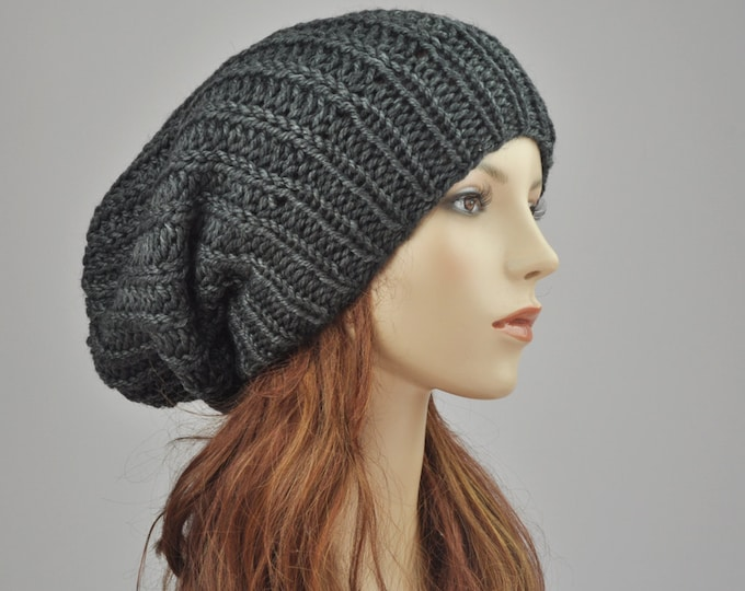 Hand knit hat - Oversized Chunky Wool Hat, slouchy hat in Charcoal-ready to ship