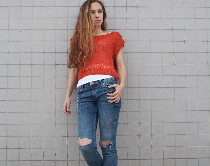 Hand knit woman cotton sweater Coral Tank loose knit cropped Tank Orange red pullover crop vest