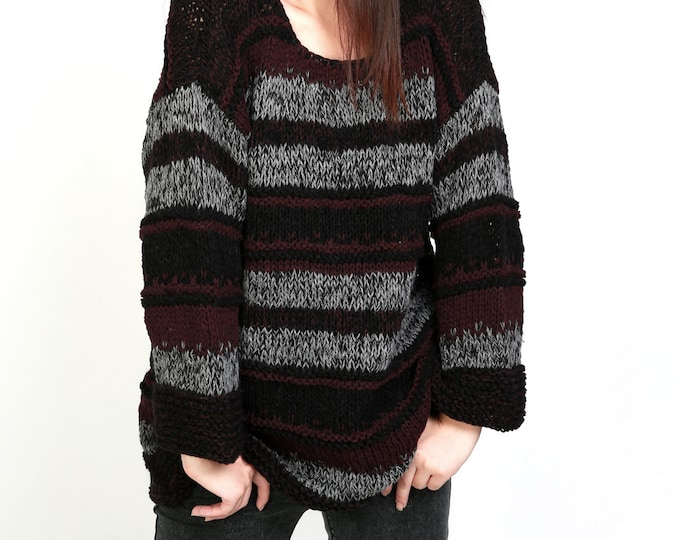 Hand knit Woman Sweater Oversized pullover black grey plum stripe