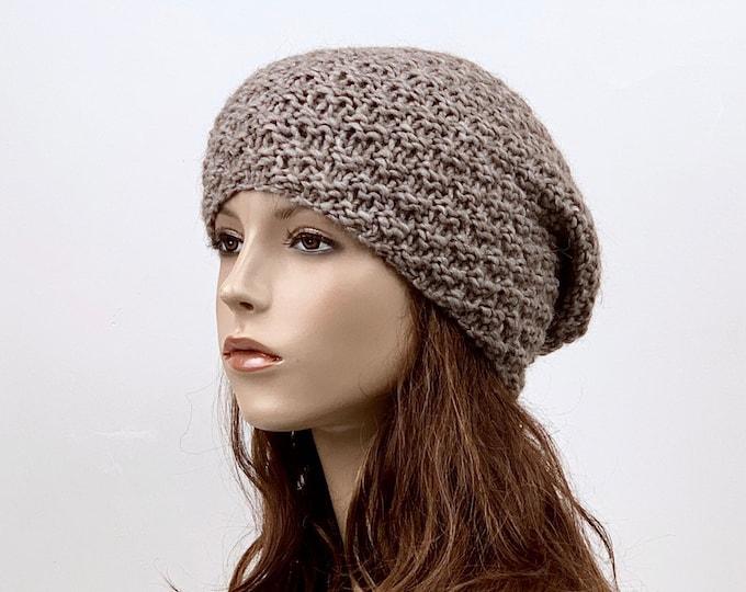 Hand knit slouchy woman Wool Hat woman winter hat Almond