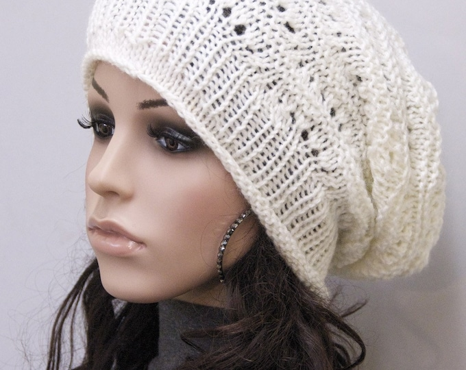 Hand Knit Chunky hat wool hat woman white cream slouchy hat
