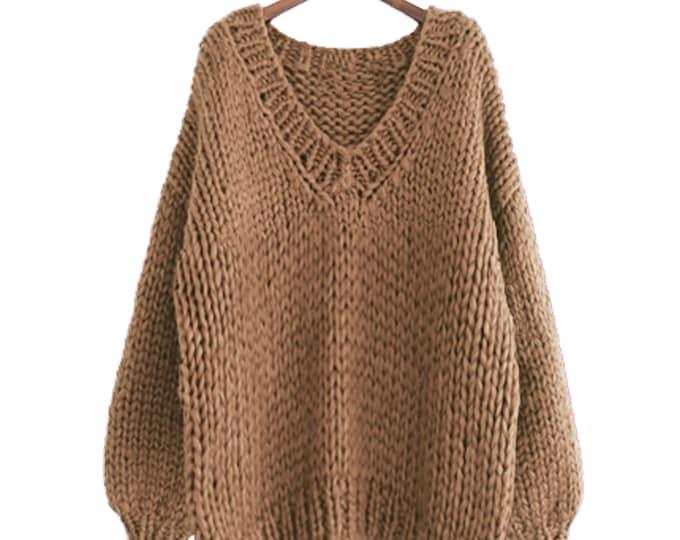 Hand knit oversize woman sweater V-neck slouchy wool mocha sweater