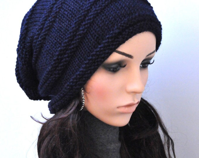 Hand Knit woman man hat winter hat slouchy hat Navy blue Wool Hat-ready to ship