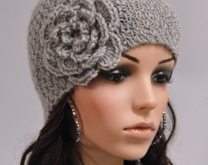 Hand knit beanie wool hat with crochet flower in grey - ready to ship