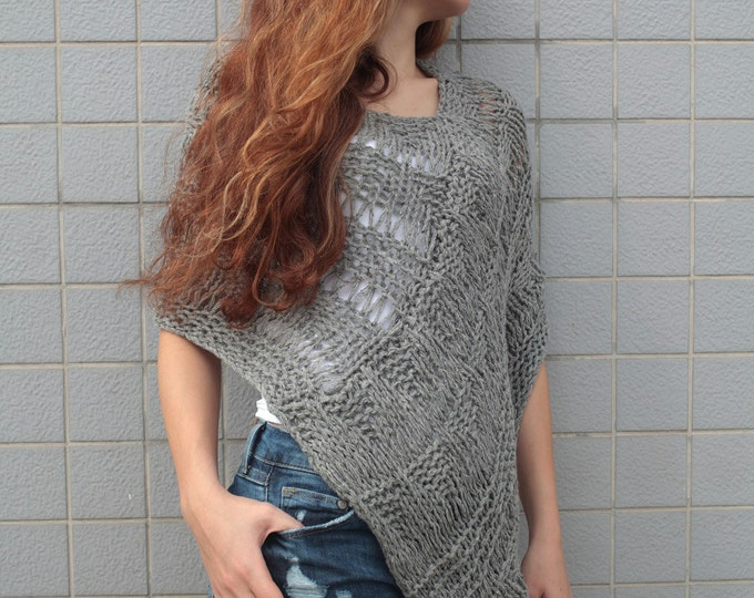 Hand knit little poncho knit scarf knit shrug Grey woman sweater-ready to ship