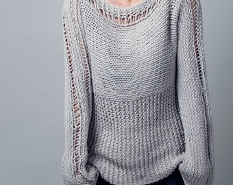 Hand knit woman sweater Eco cotton sweater light grey - ready to ship