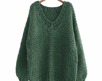 Hand knit COTTON sweater oversize woman pullover sweater V-neck slouchy Green sweater
