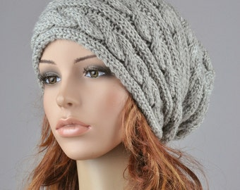 Hand knit  woman man unisex hat  Grey Chunky Wool Hat slouchy hat cable hat - ready to ship