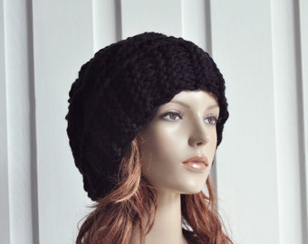 Hand Knit Hat Womens Hat Cable Beret Hat Black Chunky Knit hat - ready to ship