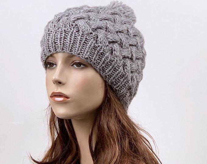 Hand Knit Hat  woman hat winter hat wool Beanie Hat Pom pom hat Grey hat