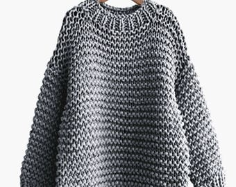Hand knit oversized woman sweater Crew neck slouchy wool Grey pullover sweater