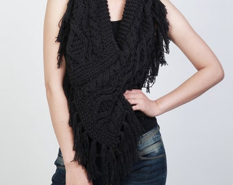 Hand knit woman poncho charcoal capelet Chunky Neck Warmer/Cowl/Tube Fringe Scraf
