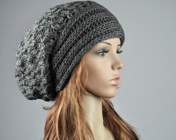 Hand knit hat woman man unisex wool hat slouchy charcoal dark grey hat - ready to ship
