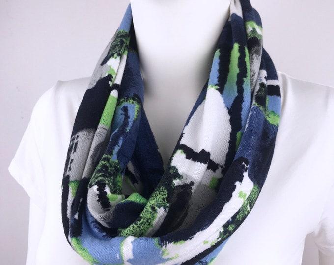 Navy blue green Infinity tube scarf Knit jersey Infinity tube scarf  cowl scarf circle scarf