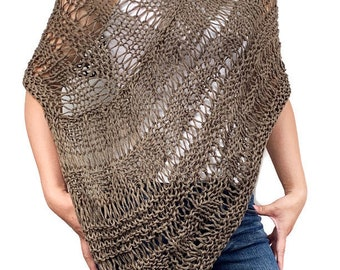 Hand knit woman sweater Little poncho knit scarf knit cotton shrug