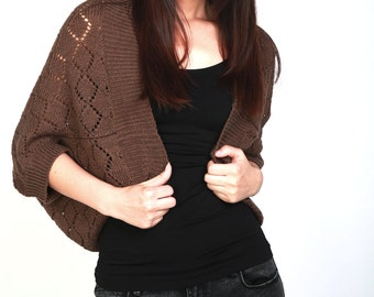Knit sweater Little cardigan sweater little shrug mocha top sweater