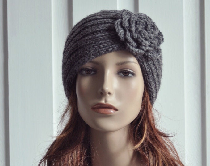 Hand Knit Hat woman Wool  Beret Hat with crochet flower Charcoal Dark Grey - ready to ship