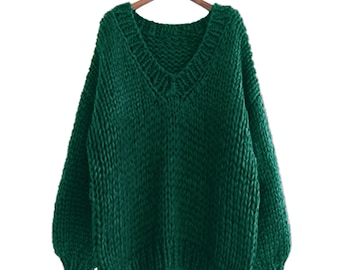 Hand knit COTTON sweater oversize pullover woman sweater V-neck slouchy green sweater