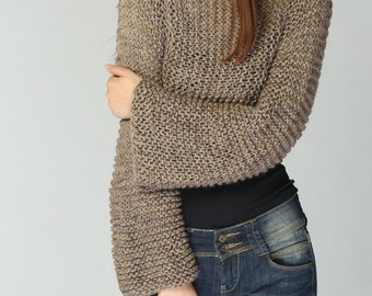 Hand knit sweater - Eco cotton Mocha/Coffee cover up top-ready to ship