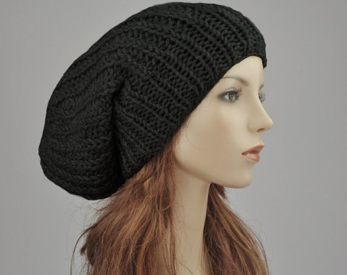 7bf6ddc5de3 Hand knit hat - Oversized Chunky Wool Hat